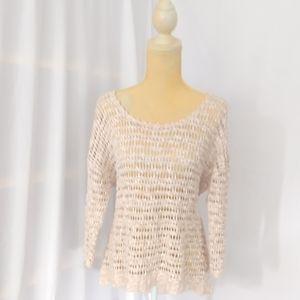Lucky brand cotton/linen loose crochet  sweater
